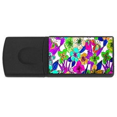 Floral Colorful Background Of Hand Drawn Flowers Usb Flash Drive Rectangular (4 Gb)
