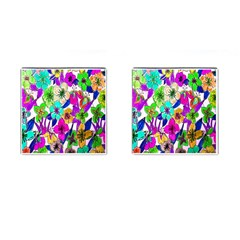 Floral Colorful Background Of Hand Drawn Flowers Cufflinks (square)