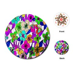 Floral Colorful Background Of Hand Drawn Flowers Playing Cards (Round)