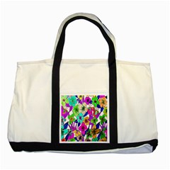 Floral Colorful Background Of Hand Drawn Flowers Two Tone Tote Bag