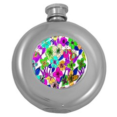 Floral Colorful Background Of Hand Drawn Flowers Round Hip Flask (5 oz)