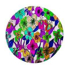 Floral Colorful Background Of Hand Drawn Flowers Round Ornament (two Sides)