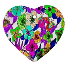 Floral Colorful Background Of Hand Drawn Flowers Heart Ornament (two Sides)