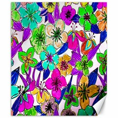 Floral Colorful Background Of Hand Drawn Flowers Canvas 8  X 10