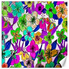 Floral Colorful Background Of Hand Drawn Flowers Canvas 16  X 16
