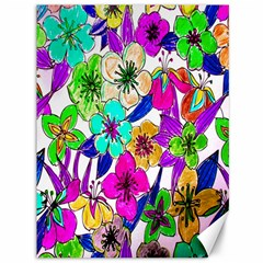 Floral Colorful Background Of Hand Drawn Flowers Canvas 36  x 48