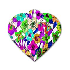 Floral Colorful Background Of Hand Drawn Flowers Dog Tag Heart (one Side)