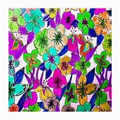 Floral Colorful Background Of Hand Drawn Flowers Medium Glasses Cloth
