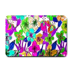 Floral Colorful Background Of Hand Drawn Flowers Small Doormat