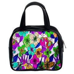 Floral Colorful Background Of Hand Drawn Flowers Classic Handbags (2 Sides)