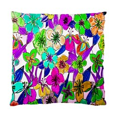 Floral Colorful Background Of Hand Drawn Flowers Standard Cushion Case (Two Sides)