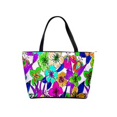 Floral Colorful Background Of Hand Drawn Flowers Shoulder Handbags