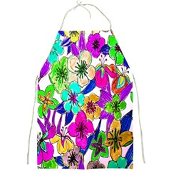 Floral Colorful Background Of Hand Drawn Flowers Full Print Aprons
