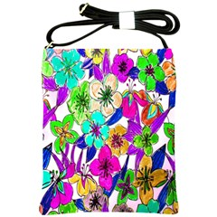 Floral Colorful Background Of Hand Drawn Flowers Shoulder Sling Bags