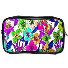 Floral Colorful Background Of Hand Drawn Flowers Toiletries Bags 2 Side