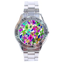 Floral Colorful Background Of Hand Drawn Flowers Stainless Steel Analogue Watch