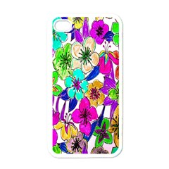 Floral Colorful Background Of Hand Drawn Flowers Apple Iphone 4 Case (white)