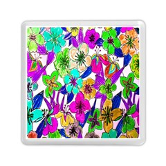 Floral Colorful Background Of Hand Drawn Flowers Memory Card Reader (square)