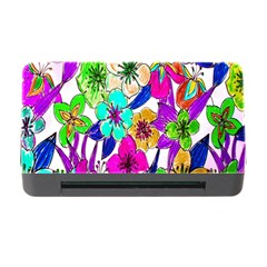 Floral Colorful Background Of Hand Drawn Flowers Memory Card Reader With Cf