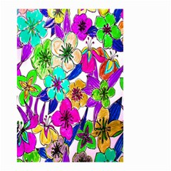Floral Colorful Background Of Hand Drawn Flowers Small Garden Flag (two Sides)
