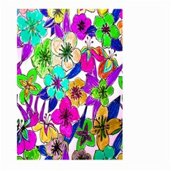 Floral Colorful Background Of Hand Drawn Flowers Large Garden Flag (two Sides)