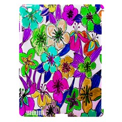 Floral Colorful Background Of Hand Drawn Flowers Apple iPad 3/4 Hardshell Case (Compatible with Smart Cover)
