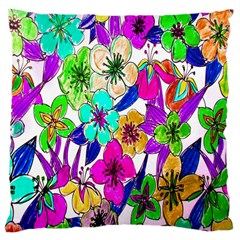 Floral Colorful Background Of Hand Drawn Flowers Large Cushion Case (one Side)