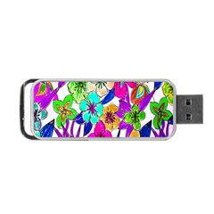 Floral Colorful Background Of Hand Drawn Flowers Portable USB Flash (Two Sides)