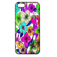 Floral Colorful Background Of Hand Drawn Flowers Apple Iphone 5 Seamless Case (black)