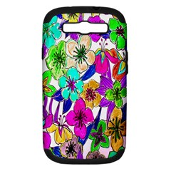 Floral Colorful Background Of Hand Drawn Flowers Samsung Galaxy S III Hardshell Case (PC+Silicone)