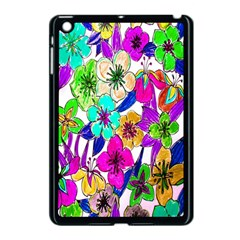 Floral Colorful Background Of Hand Drawn Flowers Apple iPad Mini Case (Black)