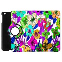 Floral Colorful Background Of Hand Drawn Flowers Apple Ipad Mini Flip 360 Case