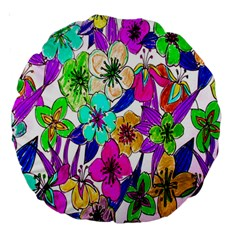 Floral Colorful Background Of Hand Drawn Flowers Large 18  Premium Round Cushions