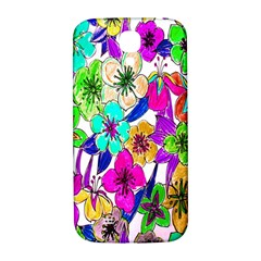 Floral Colorful Background Of Hand Drawn Flowers Samsung Galaxy S4 I9500/I9505  Hardshell Back Case