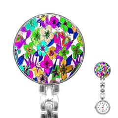 Floral Colorful Background Of Hand Drawn Flowers Stainless Steel Nurses Watch