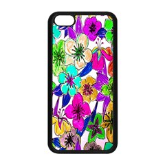 Floral Colorful Background Of Hand Drawn Flowers Apple iPhone 5C Seamless Case (Black)