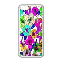 Floral Colorful Background Of Hand Drawn Flowers Apple iPhone 5C Seamless Case (White)
