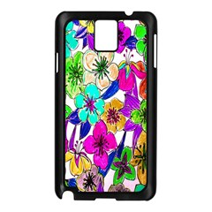 Floral Colorful Background Of Hand Drawn Flowers Samsung Galaxy Note 3 N9005 Case (black)