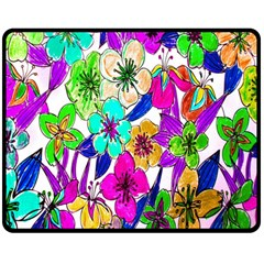 Floral Colorful Background Of Hand Drawn Flowers Double Sided Fleece Blanket (Medium)