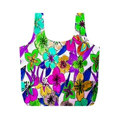 Floral Colorful Background Of Hand Drawn Flowers Full Print Recycle Bags (M)