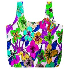 Floral Colorful Background Of Hand Drawn Flowers Full Print Recycle Bags (l)