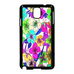 Floral Colorful Background Of Hand Drawn Flowers Samsung Galaxy Note 3 Neo Hardshell Case (Black)