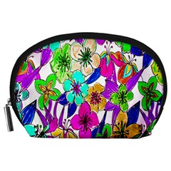 Floral Colorful Background Of Hand Drawn Flowers Accessory Pouches (Large)
