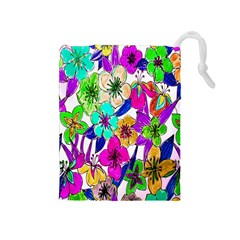 Floral Colorful Background Of Hand Drawn Flowers Drawstring Pouches (medium)