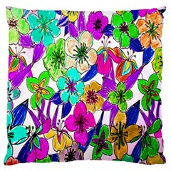 Floral Colorful Background Of Hand Drawn Flowers Large Flano Cushion Case (One Side)