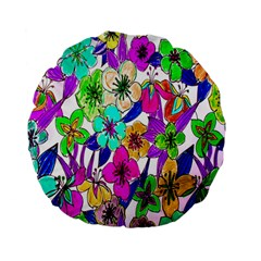 Floral Colorful Background Of Hand Drawn Flowers Standard 15  Premium Flano Round Cushions