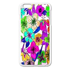 Floral Colorful Background Of Hand Drawn Flowers Apple Iphone 6 Plus/6s Plus Enamel White Case