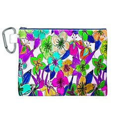 Floral Colorful Background Of Hand Drawn Flowers Canvas Cosmetic Bag (xl)