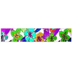 Floral Colorful Background Of Hand Drawn Flowers Flano Scarf (Large)