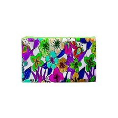 Floral Colorful Background Of Hand Drawn Flowers Cosmetic Bag (xs)